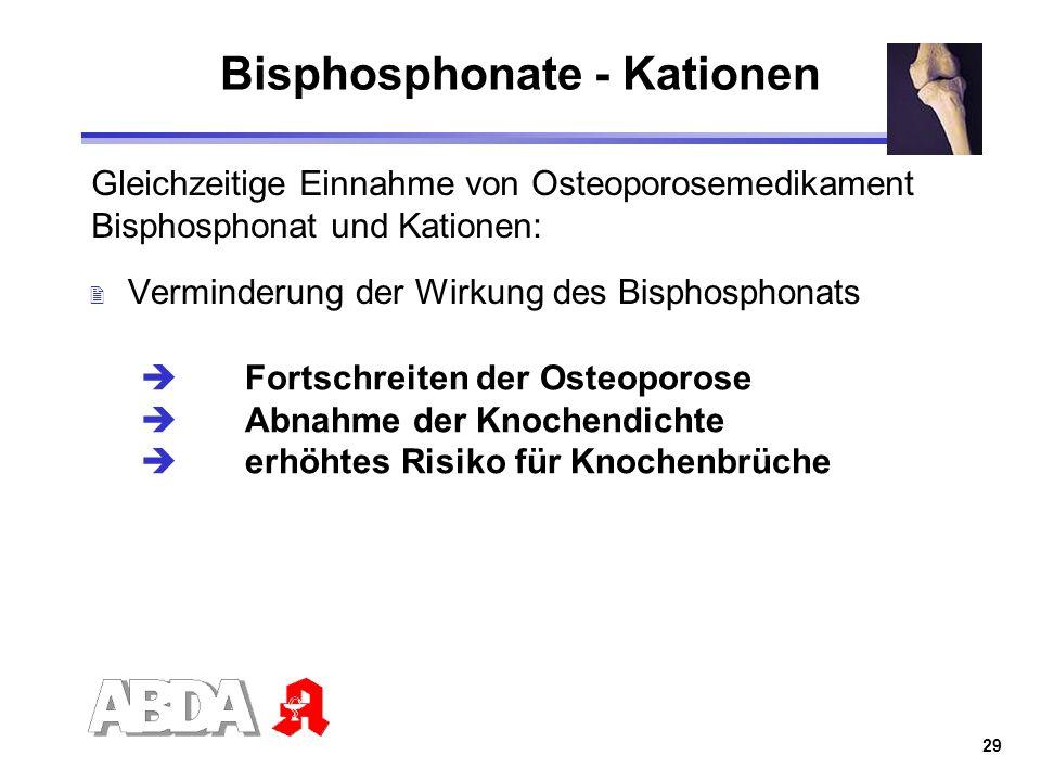 29 Bisphosphonate - Kationen Gleichzeitige Einnahme von Osteoporosemedikament Bisphosphonat und Kationen: 2 Verminderung der Wirkung des Bisphosphonat