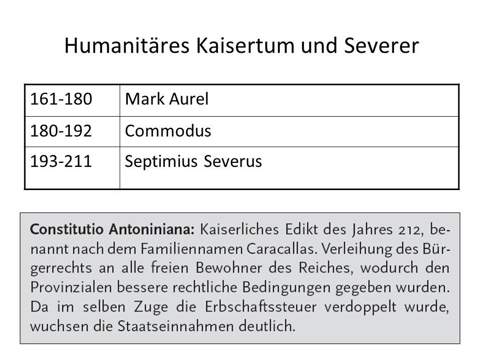 Humanitäres Kaisertum und Severer 161-180Mark Aurel 180-192Commodus 193-211Septimius Severus