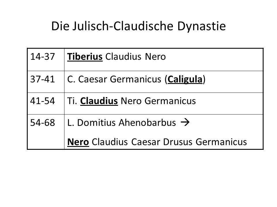 Die Julisch-Claudische Dynastie 14-37Tiberius Claudius Nero 37-41C. Caesar Germanicus (Caligula) 41-54Ti. Claudius Nero Germanicus 54-68L. Domitius Ah