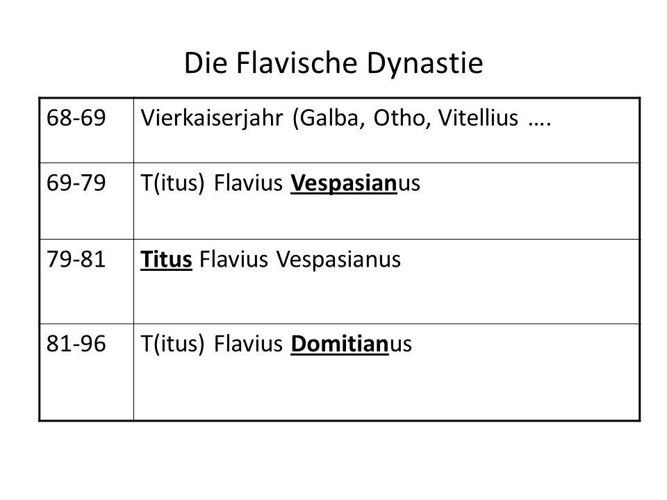 Die Flavische Dynastie 68-69Vierkaiserjahr (Galba, Otho, Vitellius …. 69-79T(itus) Flavius Vespasianus 79-81Titus Flavius Vespasianus 81-96T(itus) Fla