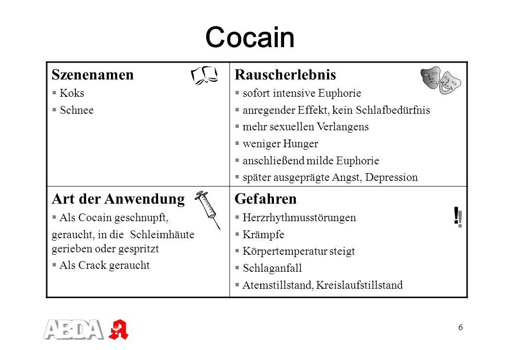 6 Cocain Szenenamen Koks Schnee Rauscherlebnis sofort intensive Euphorie anregender Effekt, kein Schlafbedürfnis mehr sexuellen Verlangens weniger Hun