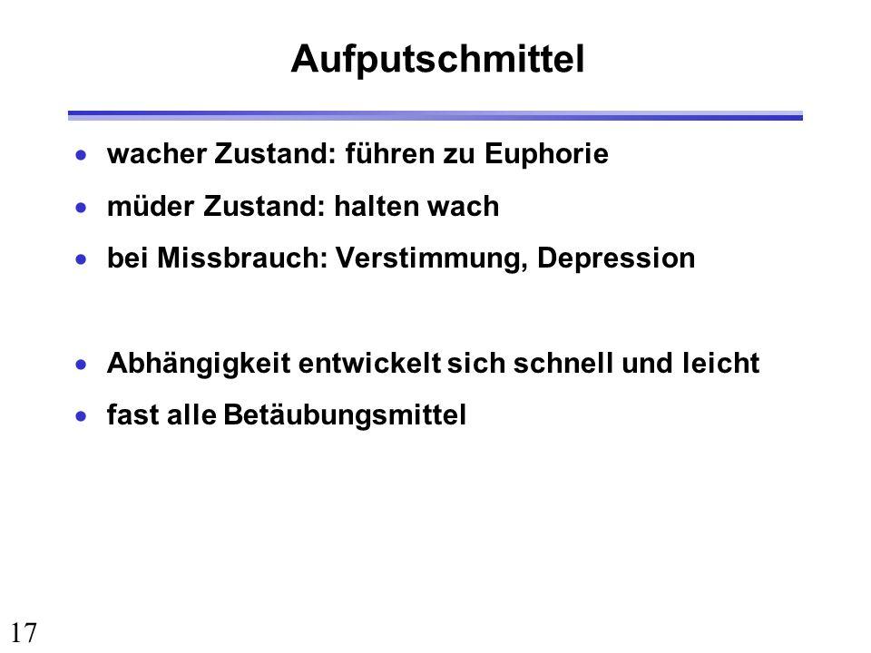 17 Aufputschmittel wacher Zustand: führen zu Euphorie müder Zustand: halten wach bei Missbrauch: Verstimmung, Depression Abhängigkeit entwickelt sich