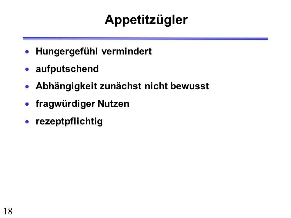 18 Appetitzügler Hungergefühl vermindert aufputschend Abhängigkeit zunächst nicht bewusst fragwürdiger Nutzen rezeptpflichtig