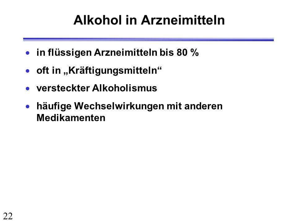 22 Alkohol in Arzneimitteln in flüssigen Arzneimitteln bis 80 % oft in Kräftigungsmitteln versteckter Alkoholismus häufige Wechselwirkungen mit andere