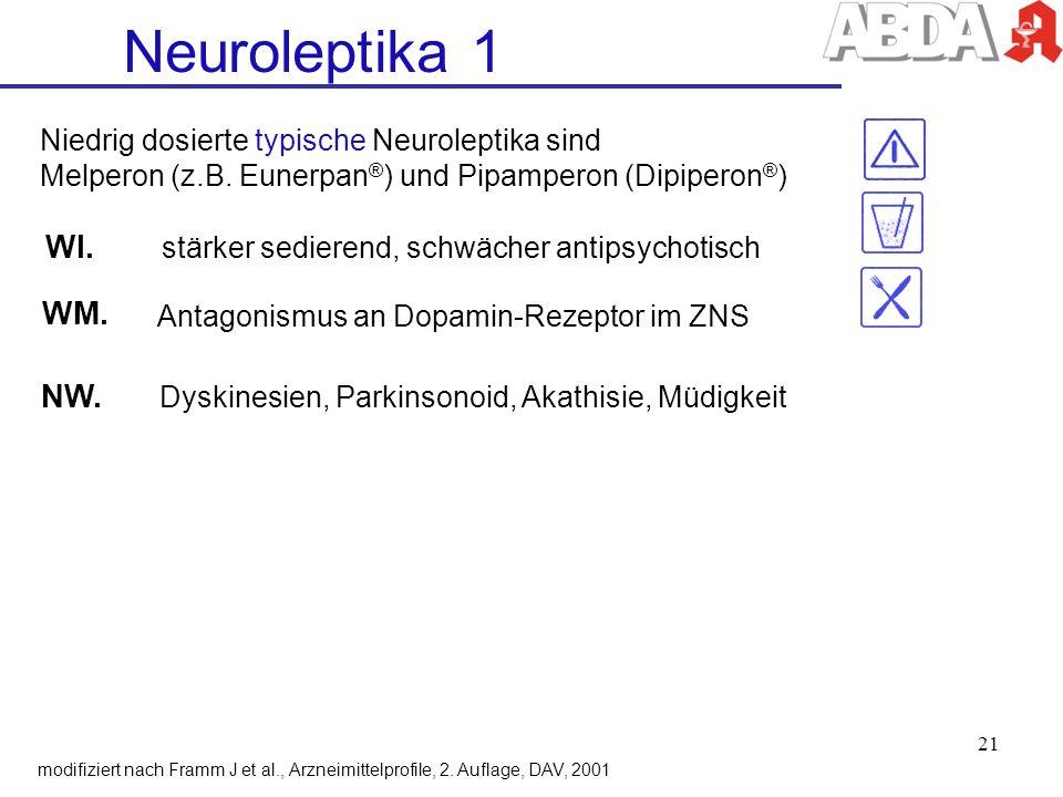 WI. stärker sedierend, schwächer antipsychotisch NW. Dyskinesien, Parkinsonoid, Akathisie, Müdigkeit Neuroleptika 1 modifiziert nach Framm J et al., A