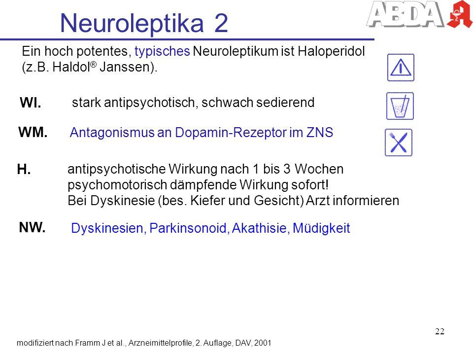 WI. stark antipsychotisch, schwach sedierend NW. Dyskinesien, Parkinsonoid, Akathisie, Müdigkeit Neuroleptika 2 modifiziert nach Framm J et al., Arzne