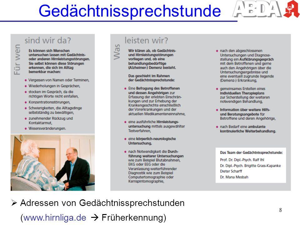 Adressen von Gedächtnissprechstunden (www.hirnliga.de Früherkennung) 8