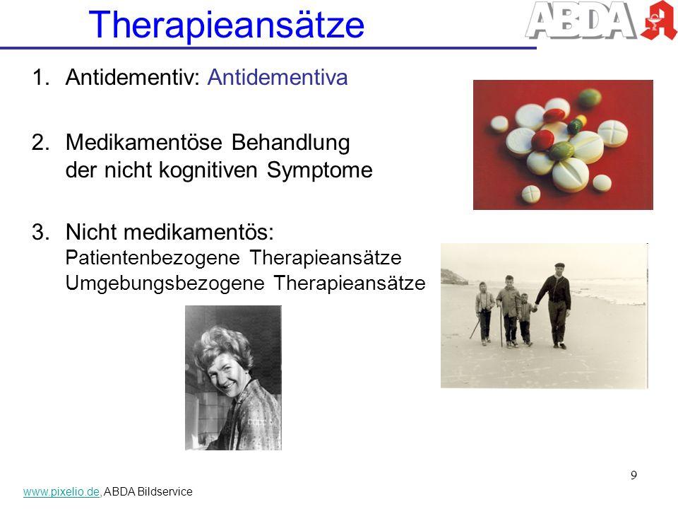 Therapieansätze 1.Antidementiv: Antidementiva 2.Medikamentöse Behandlung der nicht kognitiven Symptome 3.Nicht medikamentös: Patientenbezogene Therapi