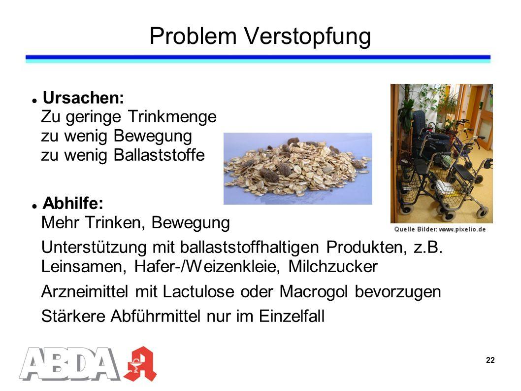 Problem Verstopfung Ursachen: Zu geringe Trinkmenge zu wenig Bewegung zu wenig Ballaststoffe Abhilfe: Mehr Trinken, Bewegung Unterstützung mit ballaststoffhaltigen Produkten, z.B.