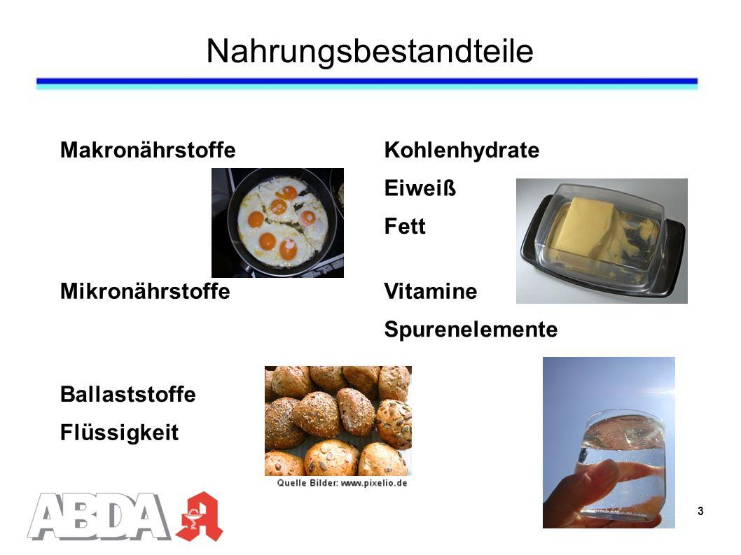 Nahrungsbestandteile MakronährstoffeKohlenhydrate Eiweiß Fett MikronährstoffeVitamine Spurenelemente Ballaststoffe Flüssigkeit 3