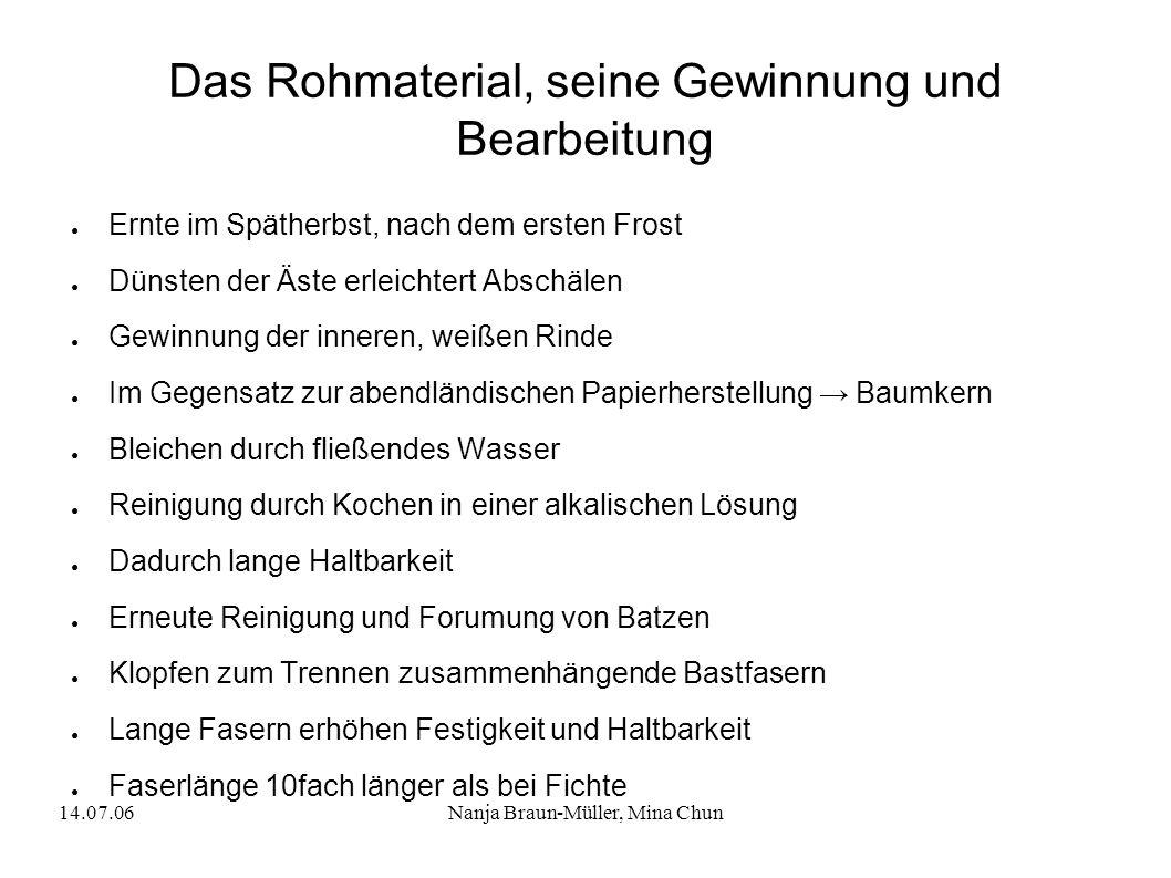 14.07.06Nanja Braun-Müller, Mina Chun Das Rohmaterial, seine Gewinnung und Bearbeitung Ernte im Spätherbst, nach dem ersten Frost Dünsten der Äste erl