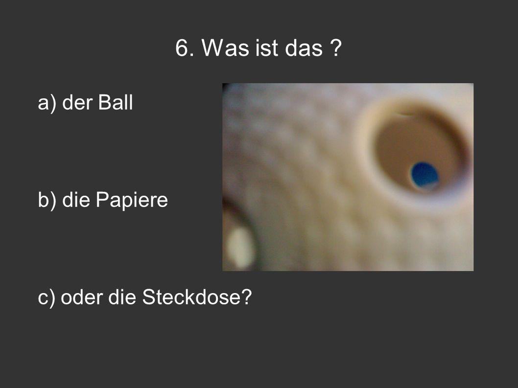 6. Was ist das a) der Ball b) die Papiere c) oder die Steckdose