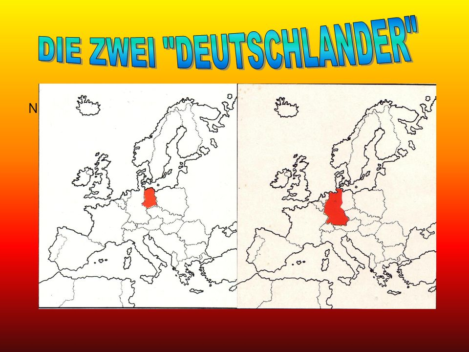 Westdeutschland Nach 1945 wurde Deutschland in 4 Besatzungszonen geteilt, die unter der Kontrolle der vier Alliierten waren, das heißt Frankreich, Großbritannien, Sowjetunion und die U.S.A.