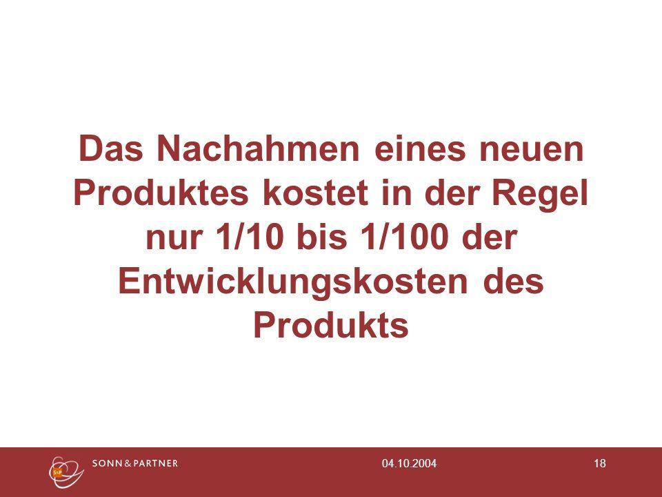 04.10.200418 Das Nachahmen eines neuen Produktes kostet in der Regel nur 1/10 bis 1/100 der Entwicklungskosten des Produkts