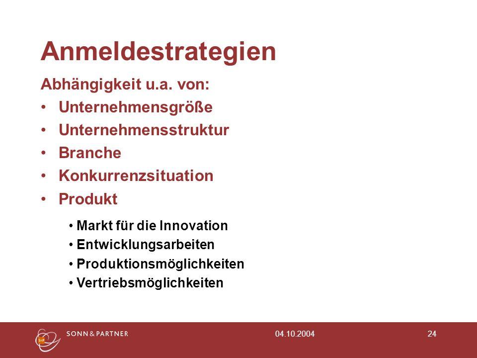 04.10.200424 Anmeldestrategien Abhängigkeit u.a. von: Unternehmensgröße Unternehmensstruktur Branche Konkurrenzsituation Produkt Markt für die Innovat