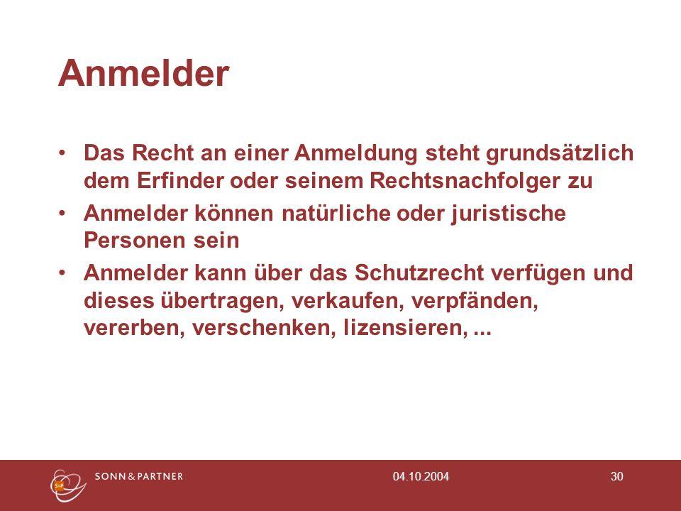 04.10.200430 Anmelder Das Recht an einer Anmeldung steht grundsätzlich dem Erfinder oder seinem Rechtsnachfolger zu Anmelder können natürliche oder ju