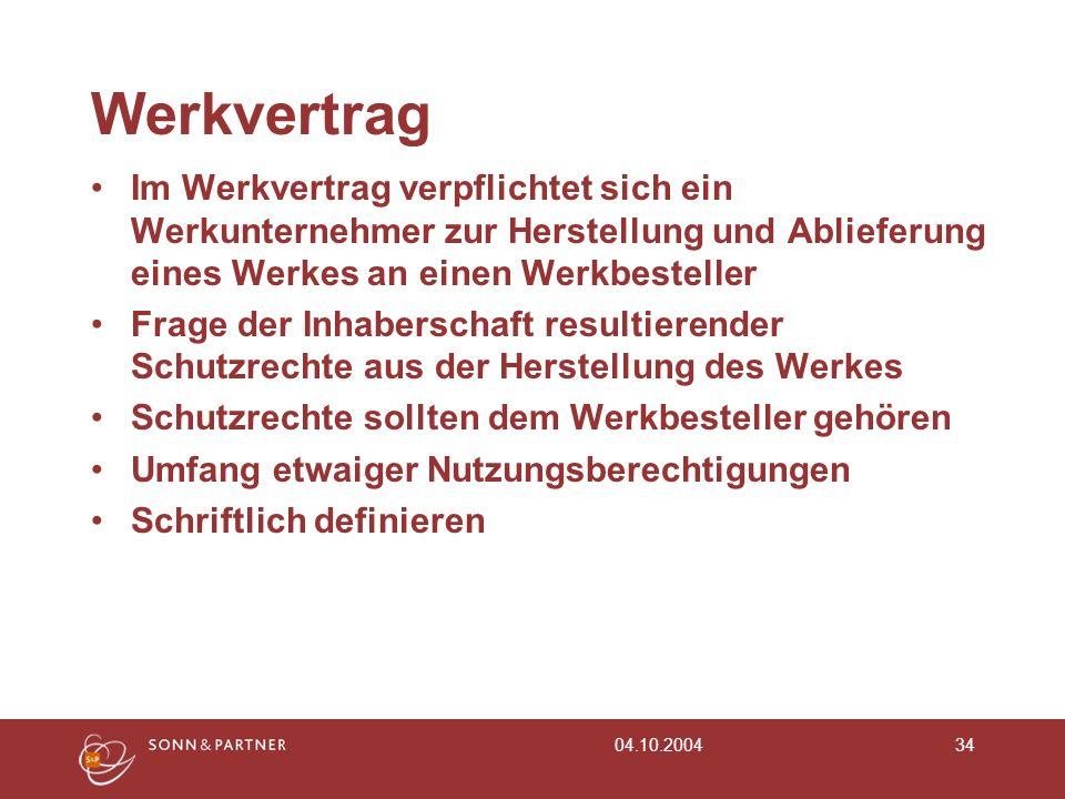 04.10.200434 Werkvertrag Im Werkvertrag verpflichtet sich ein Werkunternehmer zur Herstellung und Ablieferung eines Werkes an einen Werkbesteller Frag