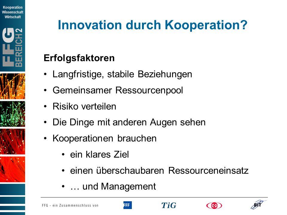 BEREICH 2 Kooperation Wissenschaft Wirtschaft Innovation durch Kooperation? Erfolgsfaktoren Langfristige, stabile Beziehungen Gemeinsamer Ressourcenpo