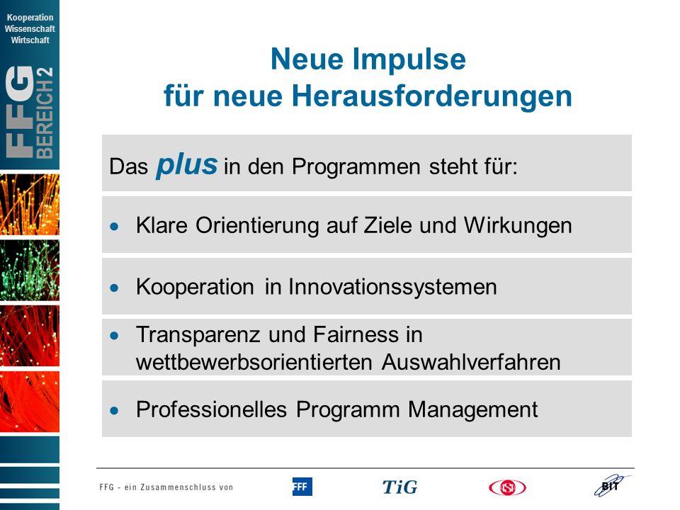 BEREICH 2 Kooperation Wissenschaft Wirtschaft Kooperation in Innovationssystemen Transparenz und Fairness in wettbewerbsorientierten Auswahlverfahren Klare Orientierung auf Ziele und Wirkungen Neue Impulse für neue Herausforderungen Professionelles Programm Management Das plus in den Programmen steht für: