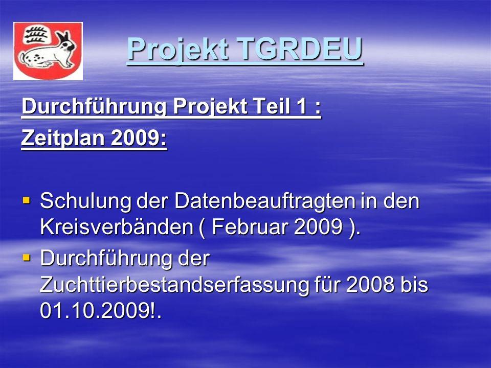 Projekt TGRDEU Durchführung Projekt Teil 1 : Zeitplan 2009: Schulung der Datenbeauftragten in den Kreisverbänden ( Februar 2009 ).