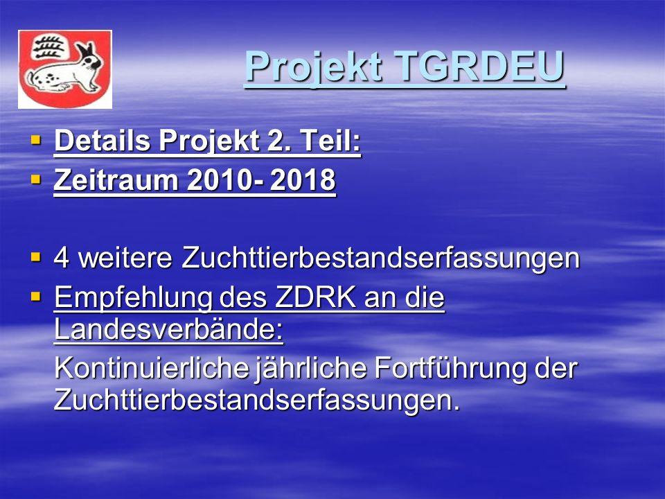 Projekt TGRDEU Projekt TGRDEU Details Projekt 2. Teil: Details Projekt 2. Teil: Zeitraum 2010- 2018 Zeitraum 2010- 2018 4 weitere Zuchttierbestandserf
