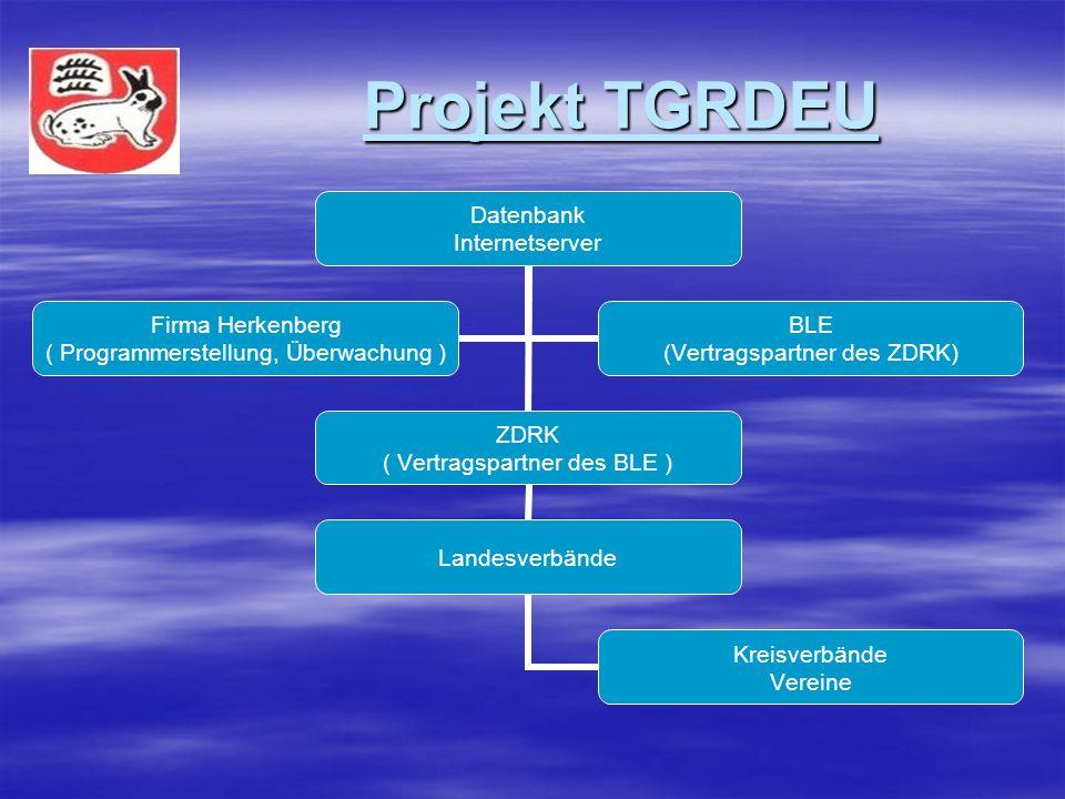 Projekt TGRDEU Projekt TGRDEU Datenbank Internetserver ZDRK ( Vertragspartner des BLE ) Landesverbände Kreisverbände Vereine Firma Herkenberg ( Programmerstellung, Überwachung ) BLE (Vertragspartner des ZDRK)