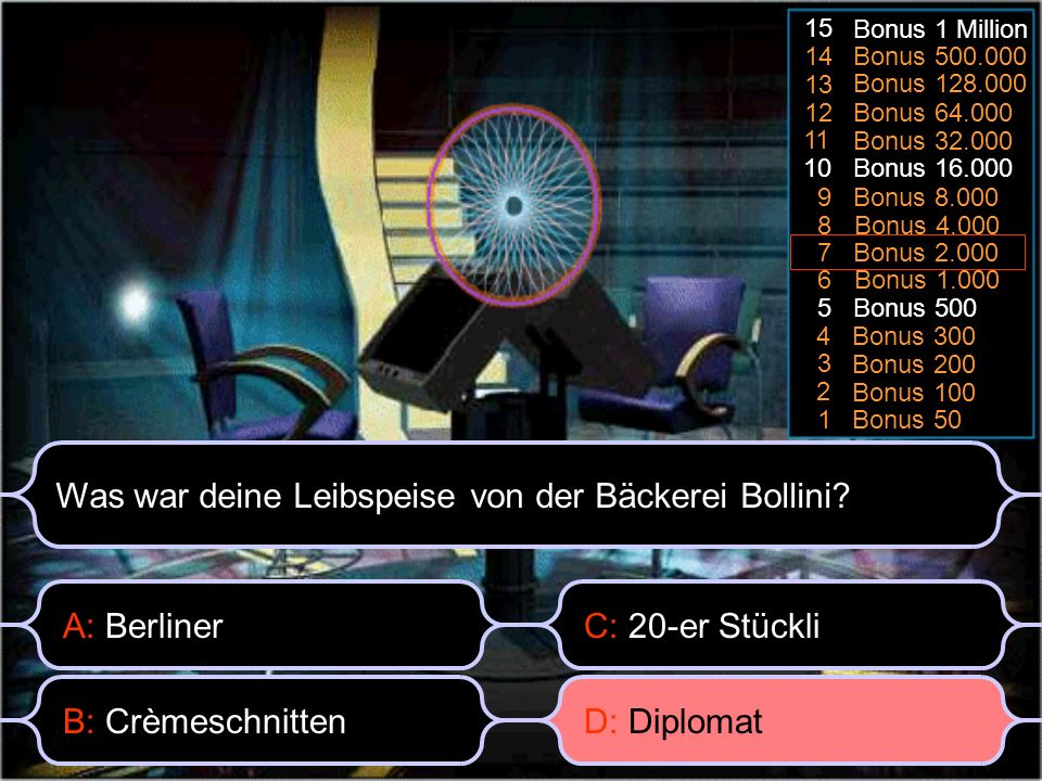 Bonus 50 1 Bonus 100 2 3 Bonus 200 Bonus 3004 Bonus 5005 6 Bonus 1.000 7 Bonus 2.000 8 Bonus 4.000 9 Bonus 8.000 10 Bonus 16.000 11 Bonus 32.000 Bonus 64.000 12 13 Bonus 128.000 14 Bonus 500.000 15 Bonus 1 Million A: Berliner Was war deine Leibspeise von der Bäckerei Bollini.