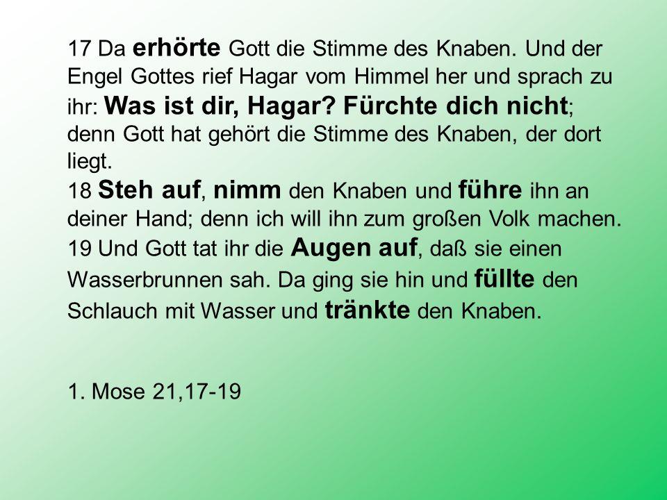 17 Da erhörte Gott die Stimme des Knaben. Und der Engel Gottes rief Hagar vom Himmel her und sprach zu ihr: Was ist dir, Hagar? Fürchte dich nicht ; d