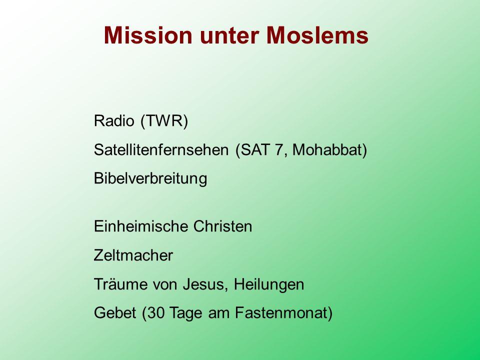 Radio (TWR) Satellitenfernsehen (SAT 7, Mohabbat) Bibelverbreitung Einheimische Christen Zeltmacher Träume von Jesus, Heilungen Gebet (30 Tage am Fast