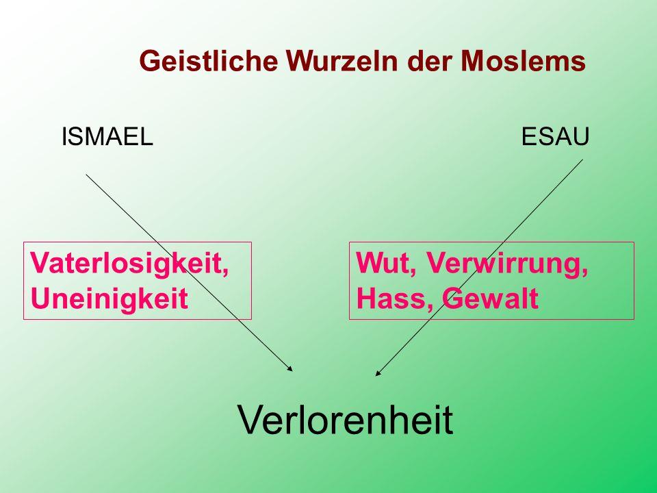 Geistliche Wurzeln der Moslems ISMAEL ESAU Vaterlosigkeit, Uneinigkeit Wut, Verwirrung, Hass, Gewalt Verlorenheit
