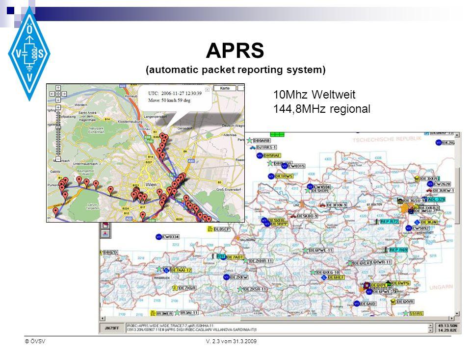 © ÖVSVV. 2.3 vom 31.3.2009 APRS (automatic packet reporting system) 10Mhz Weltweit 144,8MHz regional