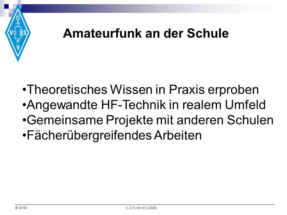 © ÖVSVV. 2.3 vom 31.3.2009 Theoretisches Wissen in Praxis erproben Angewandte HF-Technik in realem Umfeld Gemeinsame Projekte mit anderen Schulen Fäch