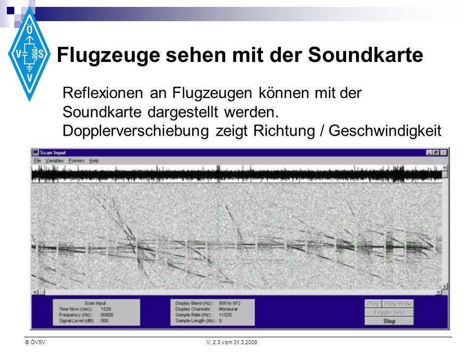 © ÖVSVV. 2.3 vom 31.3.2009 Flugzeuge sehen mit der Soundkarte Reflexionen an Flugzeugen können mit der Soundkarte dargestellt werden. Dopplerverschieb