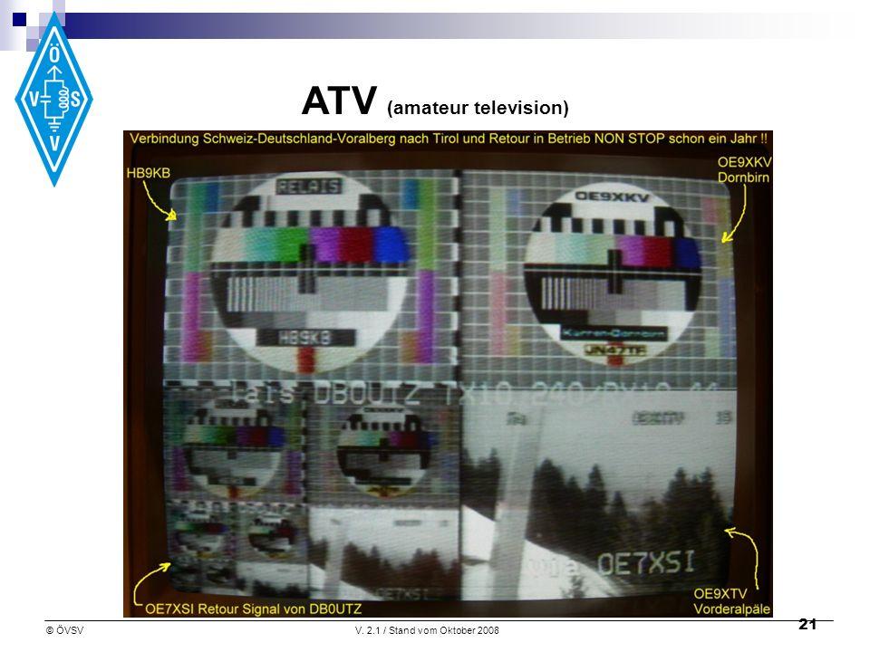 © ÖVSVV. 2.1 / Stand vom Oktober 2008 21 ATV (amateur television)