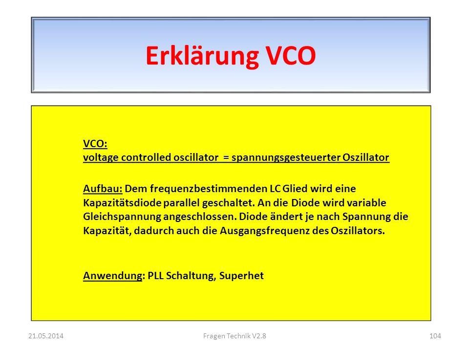Erklärung VCO VCO: voltage controlled oscillator = spannungsgesteuerter Oszillator Aufbau: Dem frequenzbestimmenden LC Glied wird eine Kapazitätsdiode parallel geschaltet.