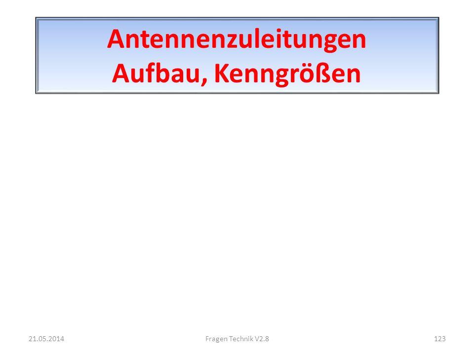 Antennenzuleitungen Aufbau, Kenngrößen 21.05.2014123Fragen Technik V2.8