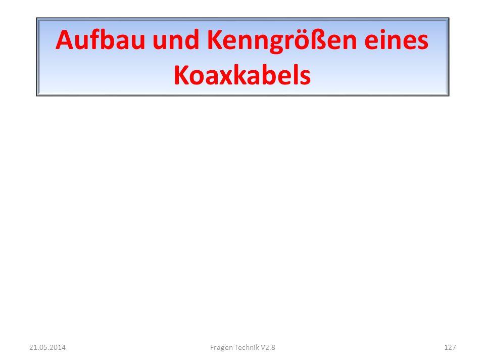 Aufbau und Kenngrößen eines Koaxkabels 21.05.2014127Fragen Technik V2.8