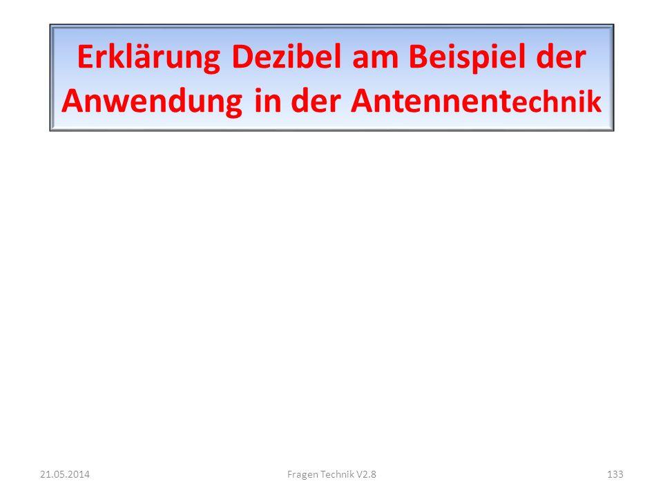 Erklärung Dezibel am Beispiel der Anwendung in der Antennent echnik 21.05.2014133Fragen Technik V2.8