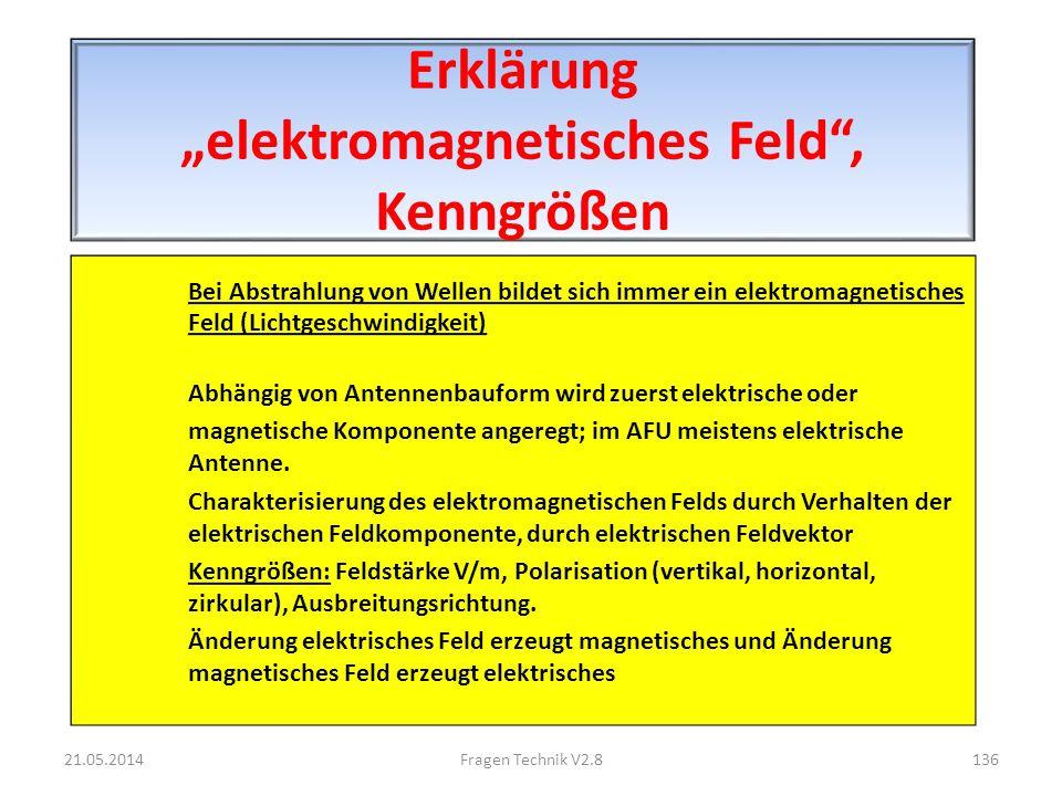 Erklärung elektromagnetisches Feld, Kenngrößen Bei Abstrahlung von Wellen bildet sich immer ein elektromagnetisches Feld (Lichtgeschwindigkeit) Abhängig von Antennenbauform wird zuerst elektrische oder magnetische Komponente angeregt; im AFU meistens elektrische Antenne.