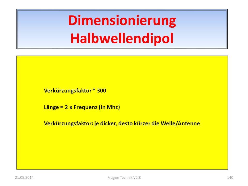 Dimensionierung Halbwellendipol Verkürzungsfaktor * 300 Länge = 2 x Frequenz (in Mhz) Verkürzungsfaktor: je dicker, desto kürzer die Welle/Antenne 21.05.2014140Fragen Technik V2.8