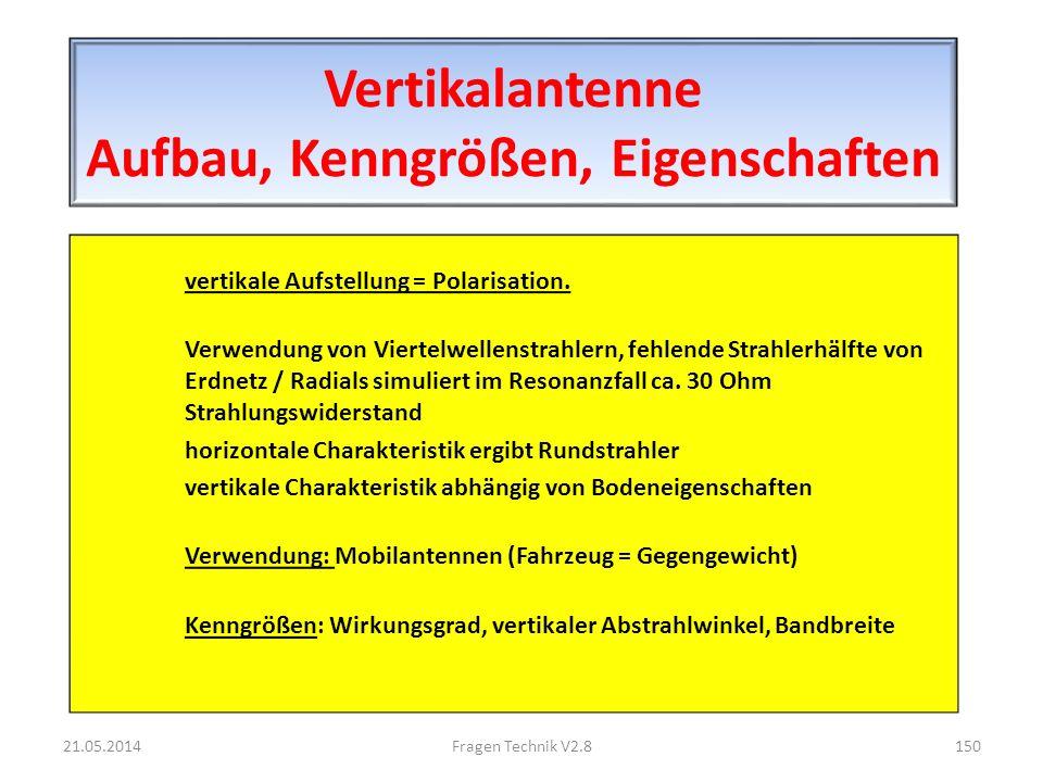 Vertikalantenne Aufbau, Kenngrößen, Eigenschaften vertikale Aufstellung = Polarisation.
