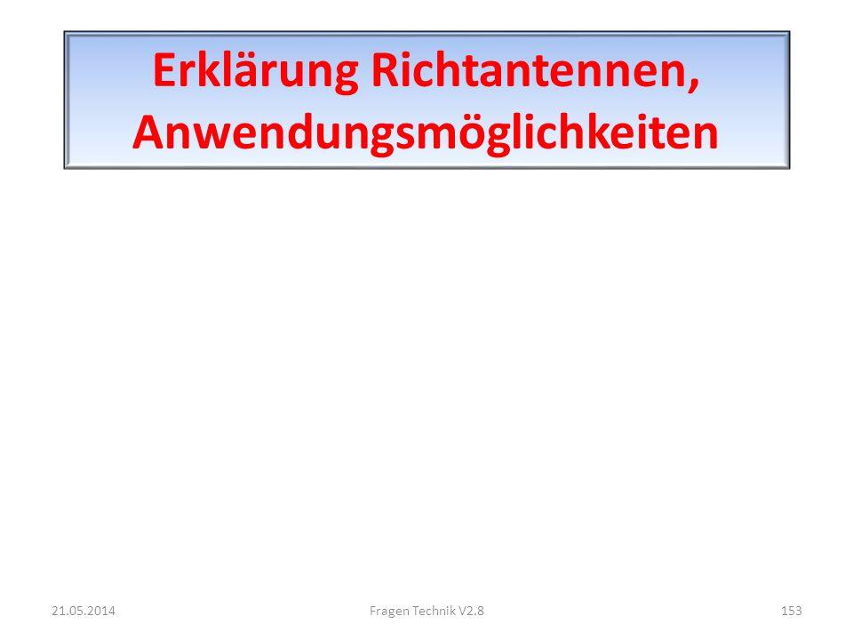 Erklärung Richtantennen, Anwendungsmöglichkeiten 21.05.2014153Fragen Technik V2.8