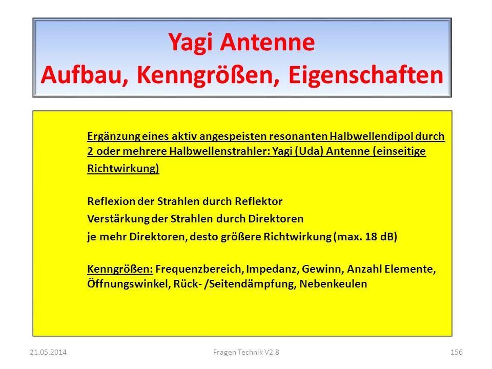 Yagi Antenne Aufbau, Kenngrößen, Eigenschaften Ergänzung eines aktiv angespeisten resonanten Halbwellendipol durch 2 oder mehrere Halbwellenstrahler: Yagi (Uda) Antenne (einseitige Richtwirkung) Reflexion der Strahlen durch Reflektor Verstärkung der Strahlen durch Direktoren je mehr Direktoren, desto größere Richtwirkung (max.