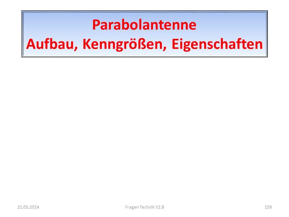 Parabolantenne Aufbau, Kenngrößen, Eigenschaften 21.05.2014159Fragen Technik V2.8