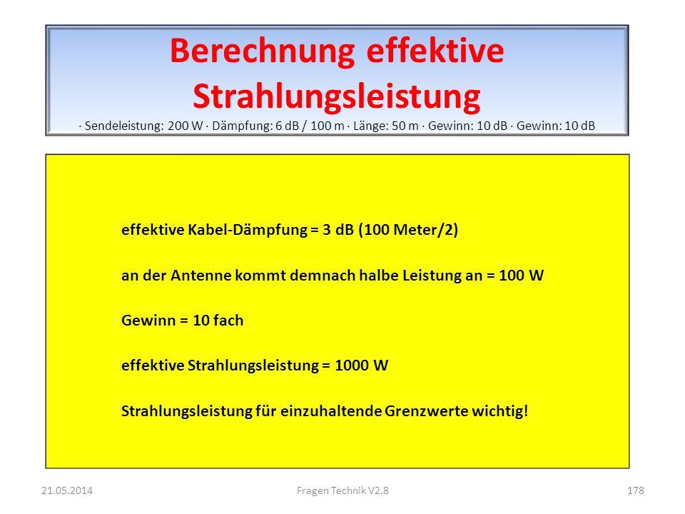 Berechnung effektive Strahlungsleistung · Sendeleistung: 200 W · Dämpfung: 6 dB / 100 m · Länge: 50 m · Gewinn: 10 dB · Gewinn: 10 dB effektive Kabel-Dämpfung = 3 dB (100 Meter/2) an der Antenne kommt demnach halbe Leistung an = 100 W Gewinn = 10 fach effektive Strahlungsleistung = 1000 W Strahlungsleistung für einzuhaltende Grenzwerte wichtig.