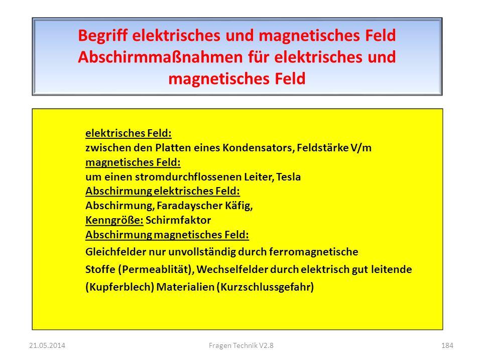 Begriff elektrisches und magnetisches Feld Abschirmmaßnahmen für elektrisches und magnetisches Feld elektrisches Feld: zwischen den Platten eines Kondensators, Feldstärke V/m magnetisches Feld: um einen stromdurchflossenen Leiter, Tesla Abschirmung elektrisches Feld: Abschirmung, Faradayscher Käfig, Kenngröße: Schirmfaktor Abschirmung magnetisches Feld: Gleichfelder nur unvollständig durch ferromagnetische Stoffe (Permeablität), Wechselfelder durch elektrisch gut leitende (Kupferblech) Materialien (Kurzschlussgefahr) 21.05.2014184Fragen Technik V2.8