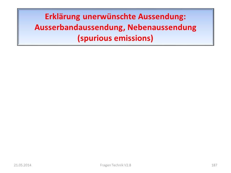 Erklärung unerwünschte Aussendung: Ausserbandaussendung, Nebenaussendung (spurious emissions) 21.05.2014187Fragen Technik V2.8