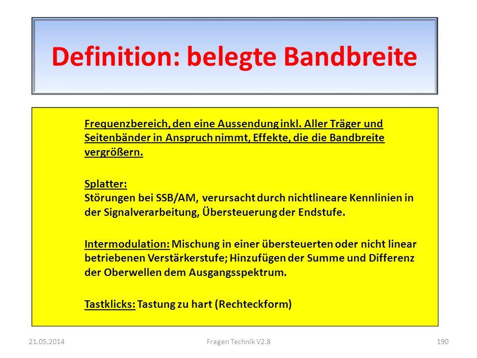 Definition: belegte Bandbreite Frequenzbereich, den eine Aussendung inkl.