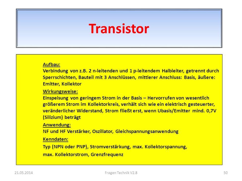 Transistor Aufbau: Verbindung von z.B.