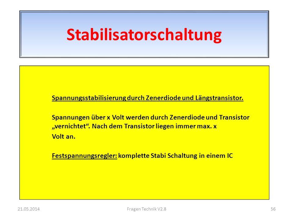 Stabilisatorschaltung Spannungsstabilisierung durch Zenerdiode und Längstransistor.